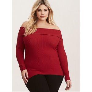 Torrid Ribbed Knit Fold Over Shoulder Red Sweater